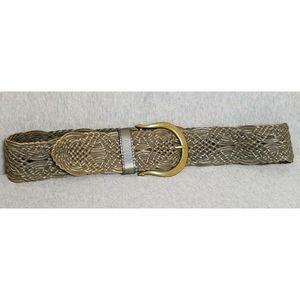 LINEA PELLE Gray Woven Braided Leather Womens Belt